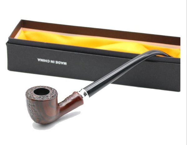 European and American Vintage wood-grain acrylic medium-stem wooden pipe removable long-mouth resin pipe