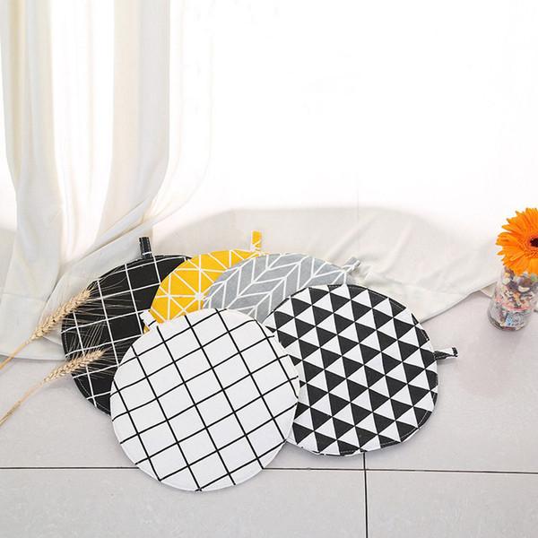 Aislamiento Potholder la estera de tabla Ronda de algodón de cocina Tabla oilproof Anti-escaldado del pote del tazón de fuente de aislamiento pad 5 Estilo HA675