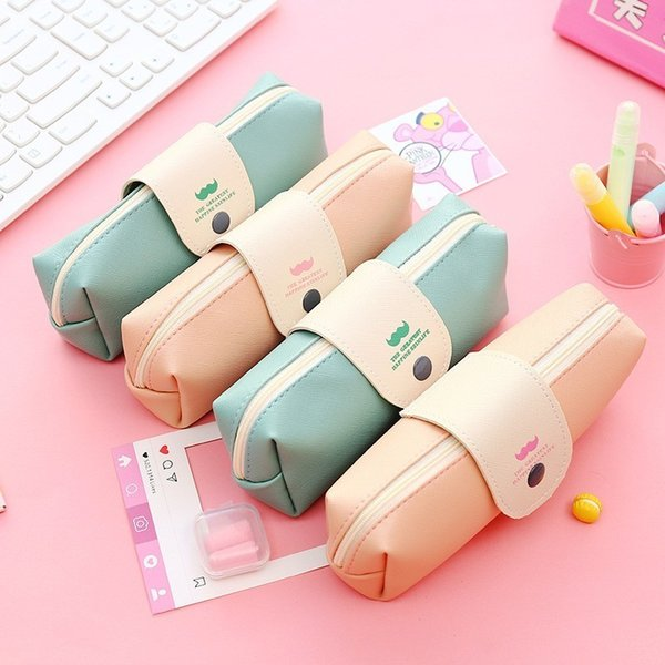 Cute Mustache Pencil Case Simple Snap-on Pencilcase Candy Large-capacity PencilBag For School Supplies Student Office Stationery