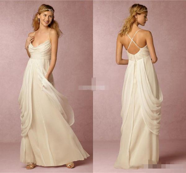 Ivory Greek Goddess 2017 Ivory Bohemia Wedding Dresses Sheath Spaghetti Straps Cross Back Pleated Chiffon Long Cheap Boho Beach Bridal Gowns