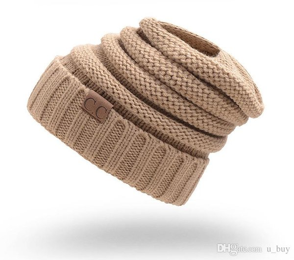 3aa23950097 CC Caps CC hats Knitted Beanie Fashion Girls women Winter Warm Hat High Bun Beanie  Hat Casual Beanies