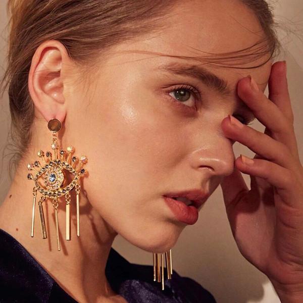 heiße neue Modedesigner übertrieben Geometrie spezielle niedliche große Augen Quaste Kronleuchter Ohrstecker für Frauen Mädchen