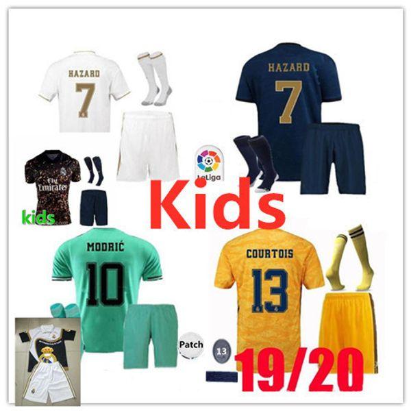 2019 Real Madrid Kids Kit Soccer Jerseys 19 20 HAZARD Home White Away 3RD Child Modric SERGIO RAMOS BENZEMA ISCO BALE Football kit