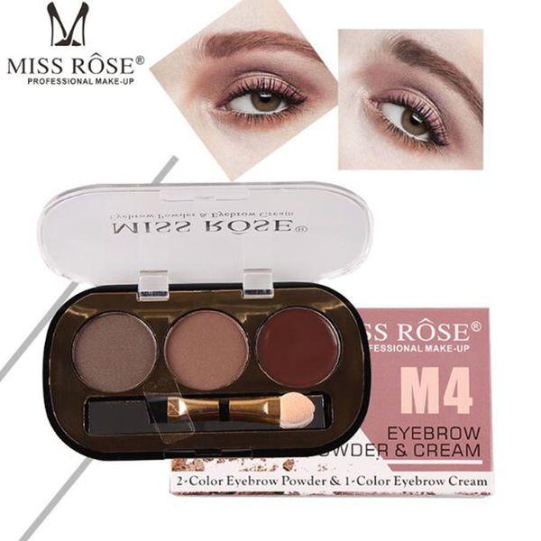 Miss Rose Eyebrow Enhancer Kit Makeup Palette 2 Powder 1 Gel Brush Long-lasting Natural Brown 3d Eye Brow Pomade Cosmetics
