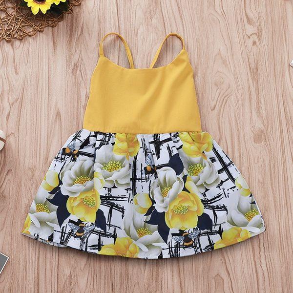 Vestido para niños INS Vestidos para niñas Tirantes de verano Falda con estampado de flores Vestidos de playa Vestidos de playa Infantil Recién nacido Ropa para niños