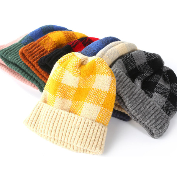 2019 Hot Family Mom Daughter Parent-Child Hat Wool Winter Autumn Warm Knit Hats 9 Styles Lattice Knitted Cap Women Plaid Caps M205F