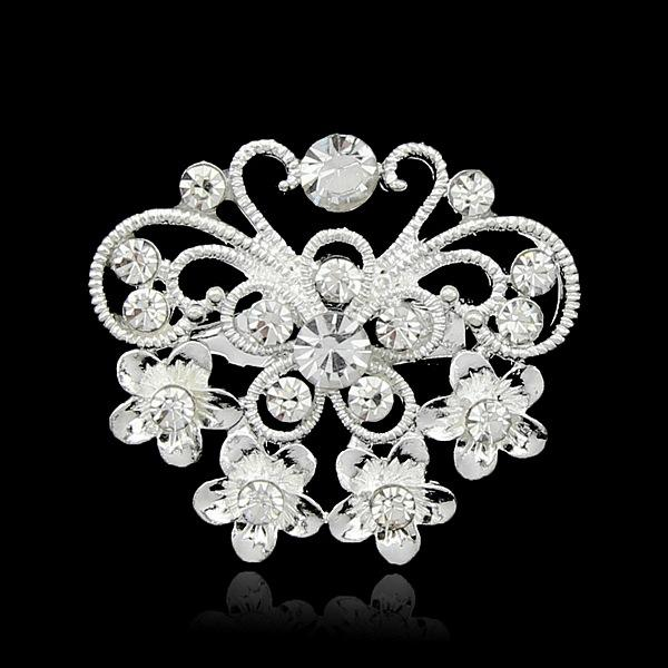 Christmas Brooches Fashion Jewelry Mix Design Silver Planted Clear Rhinestone Crystal Small size Flower Bouquet Wedding Pin Brooches