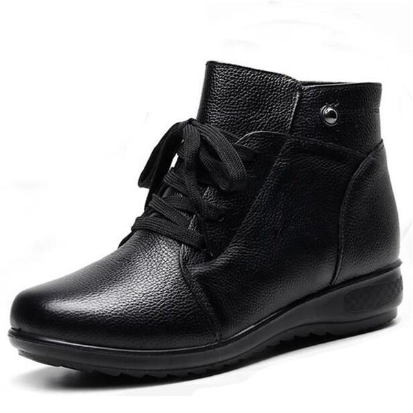 ZXRYXGS Soft Comfort antidérapante Mère chaud Bottes Femme Noir véritable Bottes femmes Bottes d'hiver en cuir d'hiver Chaussures de neige Nouveau