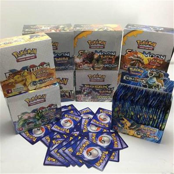 Sol e Papel Revestido de Lua 324 pçs / set Pikachu Pokr Cromos Cartas Modelo de Cartão de Poker para Crianças Dos Miúdos Dos Desenhos Animados Anime Jogos de Tabuleiro de Festa brinquedos