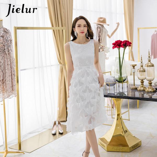 2019 Printemps Eté Robe Nouvelle Française Sans Manches En Dentelle Magnifique Robe Blanche Femmes S-XL Confortable Dames Vestidos Élégant