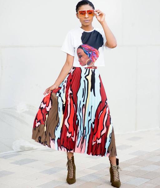 LD8304 Moda femenina y americana de gama alta popular venta caliente personalidad impresa falda plisada traje de las mujeres
