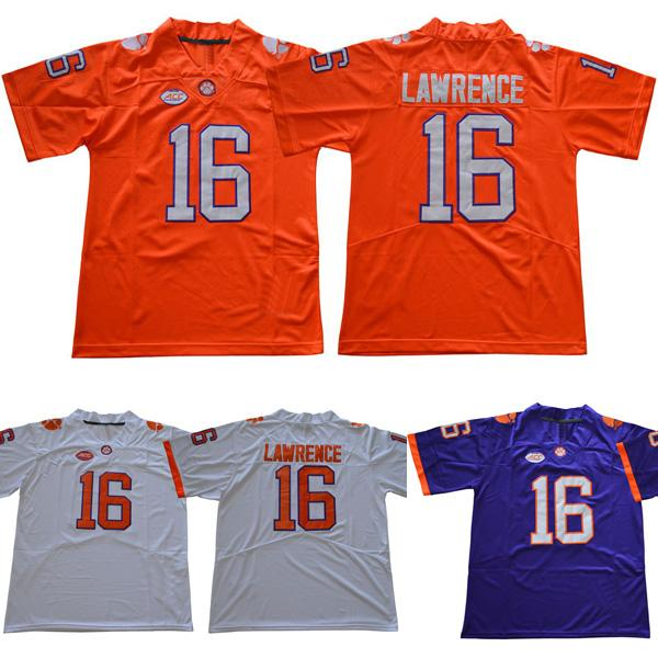 Men college clemson tigers jerseys white orange purple #16 Trevor Lawrence adult size football jersey stitched free shipping
