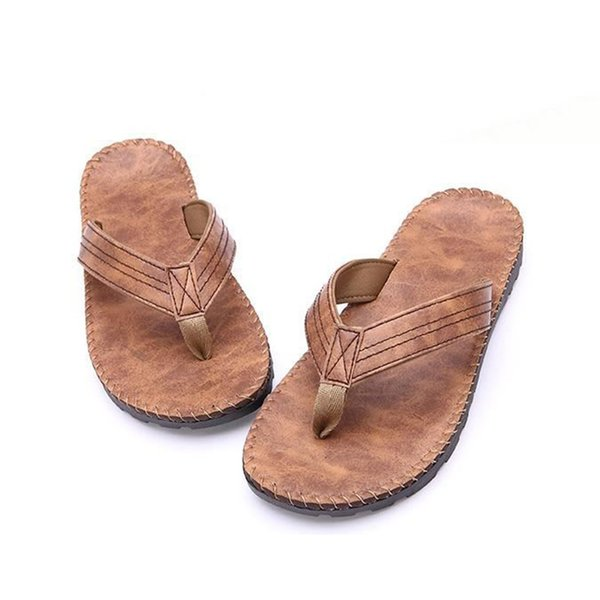 Men PU Leather Wearing Flip Flops Outdoor Beach Bathing Sandals Anti-slip Flat Slipper Shoes