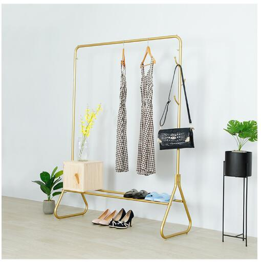 Golden di play rack iron boutique clothing tore howca e floor mounted tieyi front and ide hanging clothe di play rack gold