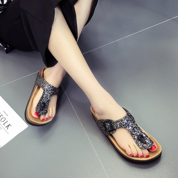 Summer Cork Slippers Shoes Woman Buckle Slides Ladies Shoes Sandals Flip Flop Beach Sandals Flats Heels Large Size 41