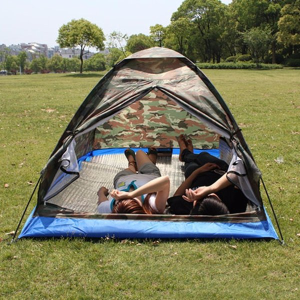 Outdoor Portable Beach Tent Camouflage Camping Tent for 2 Person Single Layer polyester fabric Tents PU1000mm Carry Bag Travel