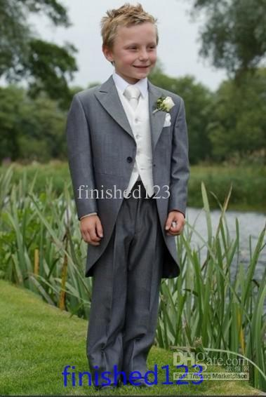 Custom Made Gray Boy Formal Wear Tuxedos Peak Lapel Children Suit Kid Wedding Prom Suits (Jacket+Pants+Vest+Tie)