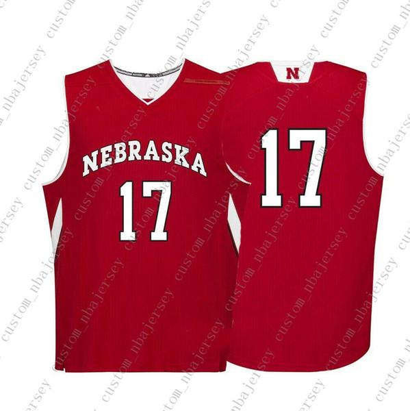 Cheap personalizzato Nebraska Cornhuskers NCAA # 17 Red pallacanestro Jersey di personalità cucitura personalizzato qualsiasi numero nome XS-5XL