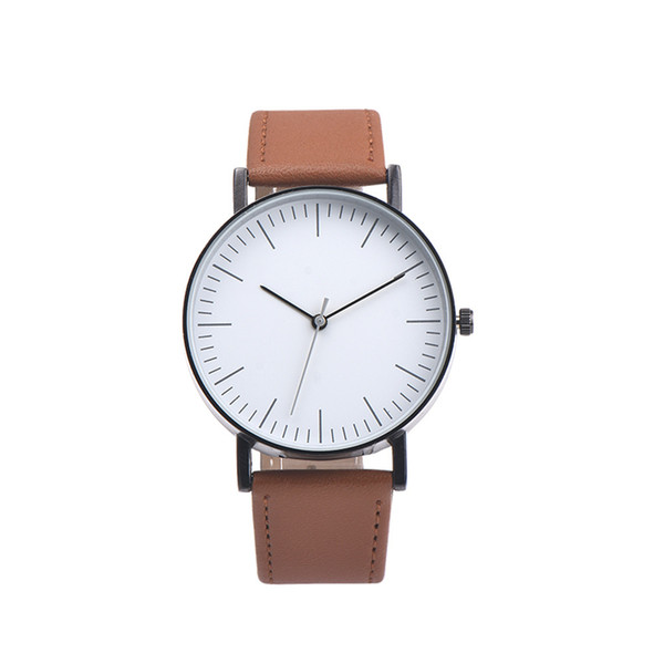 men watch simple quartz stainless steel case pu leather belt wristwatches casual sport business wristwatches relogio masculino, Slivery;brown