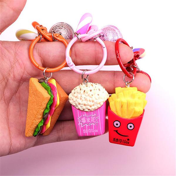 2019 Fashion Creative Cute Burger Fries Sandwich Keychain Creative Simulation Food Keychain Unisex Keychain Small Gifts