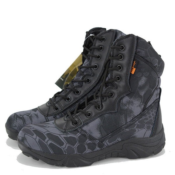 Men Outdoor Waterproof Hiking Shoes High Quality Leather Boots Special Force Tactical Desert Combat Men's Boots Outdoor Ankle Shoes Q-625