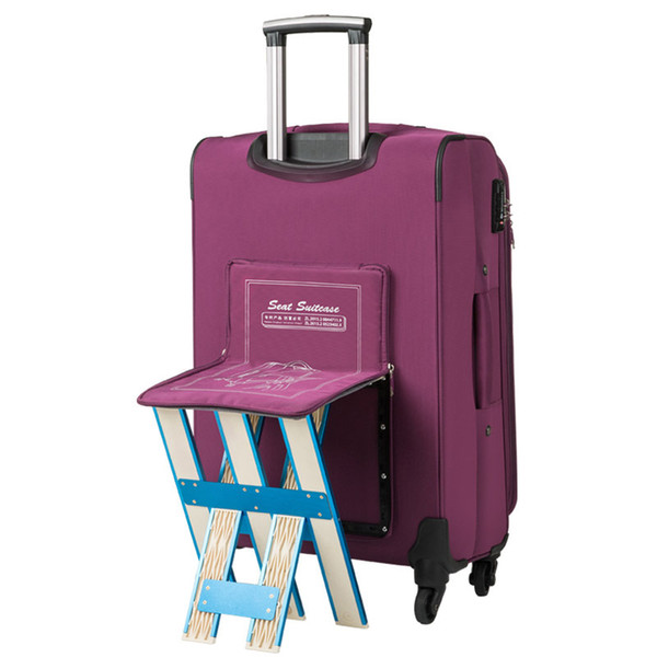 Rolling Luggage Bag with Chair,Men Travel Suitcase with wheel ,Waterproof Nylon Trolley Case,Women Box can be sitting