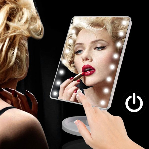 USB 22 LED Light Makeup Mirror Touch Screen Button Double Switch Table Desktop Make up Mirror Adjustable Beauty Makeup Compact