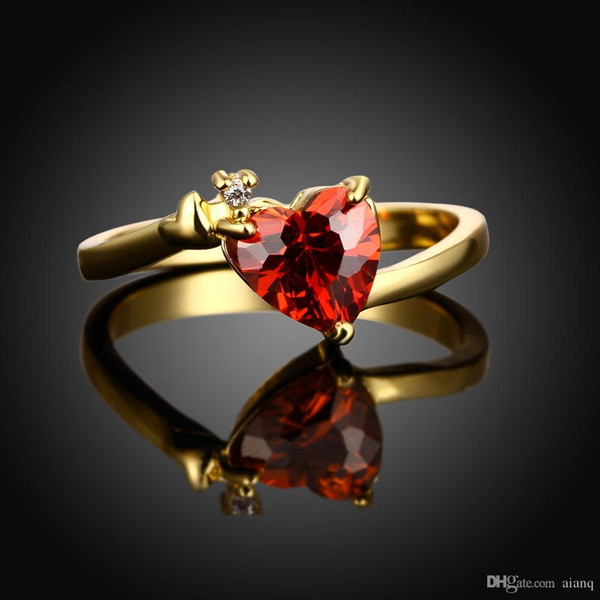 Hot Popular Classic Heart-Shaped Ladies Ring 18K Gold Plated Red CZ Ring For Women Wedding Engagement Ring Jewerly