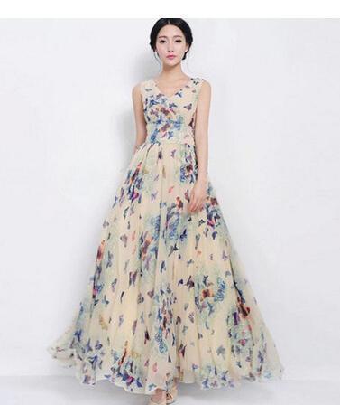 Модная одежда лето без рукавов бабочка с цветочным принтом шифон макси длинное тонкое пляжное платье ну вечеринку вечернее платье для коктейля