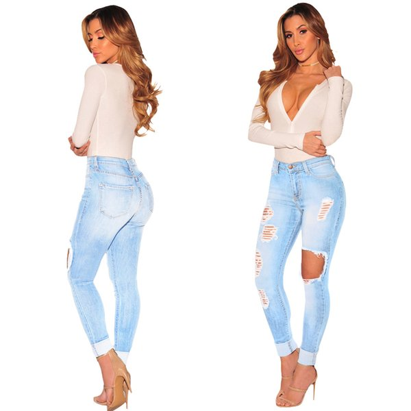 Aecker Ladies Hole High Waisted Skinny Jeans Pencil Pants For Womens Push Up Stretch High Waist Denim Pants Jeans Trousers Woman