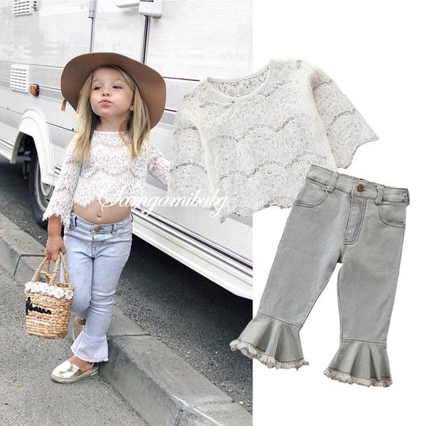 baby girls suits lace long sleeve tops blouse+Flared trousers Jeans 2pcs kids sets kids designer clothes girls outfits kids clothes A6426