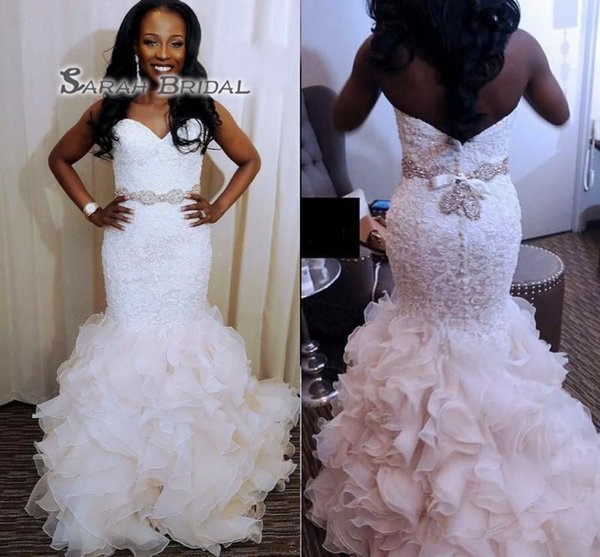 best selling African Mermaid Wedding Dresses With Sash Beads Pearls Sweetheart Plus Size Wedding Dress Ruffles Skirt Lace And Organza Bridal Gowns