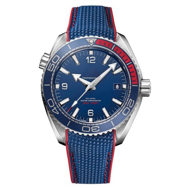 Luxusuhr Limitierte Verkauf Uhr Herren blaues Gesicht Olympic Series Armbanduhr Automatic Mechanical Glass Back Herrenuhren