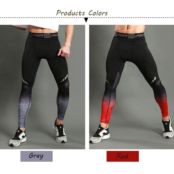 Men Sports Pants Polyester Spandex Elastic Quick Dry Breathable Stretch Slimming Compression Tights Trousers Running Fitness