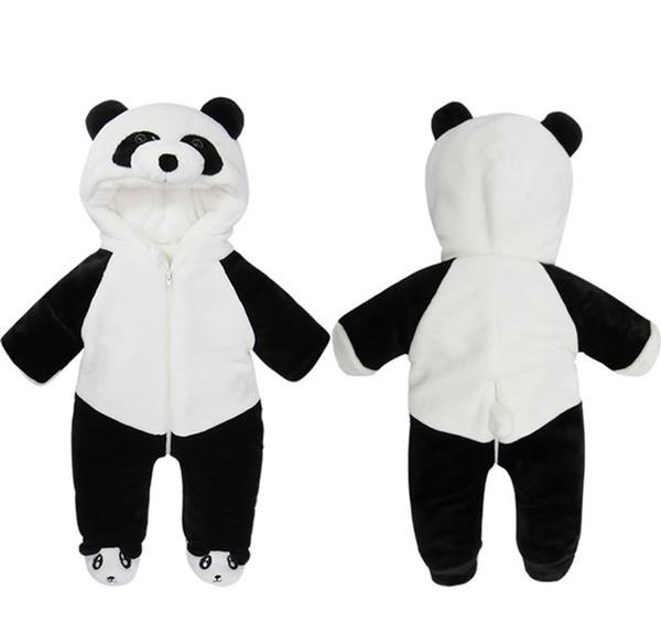 Kış Bebek Kız Romper Sevimli Flanel Yenidoğan Çocuk Tulum Karikatür Hayvan Panda Romper Sıcak Bebek Romper