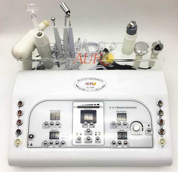 ultrasound facial machine spot removal vacuum spray brush cleaning high frequency ultrasonic galvanic beauty machine AU-8208