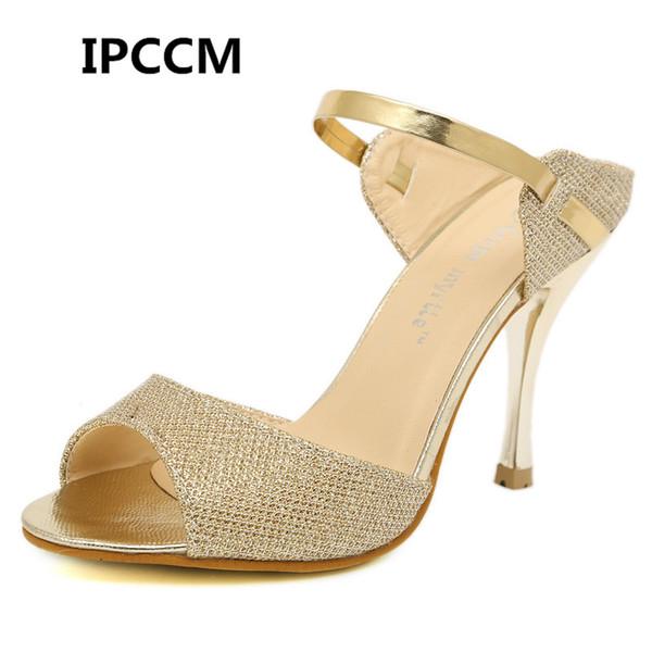 Venta al por mayor Sandalias de mujer Moda Tacones altos Sandalias Zapatos de oro Astilla Mujeres Hermosas Señoras Sandalias Zapatos de verano Tamaño 35-41