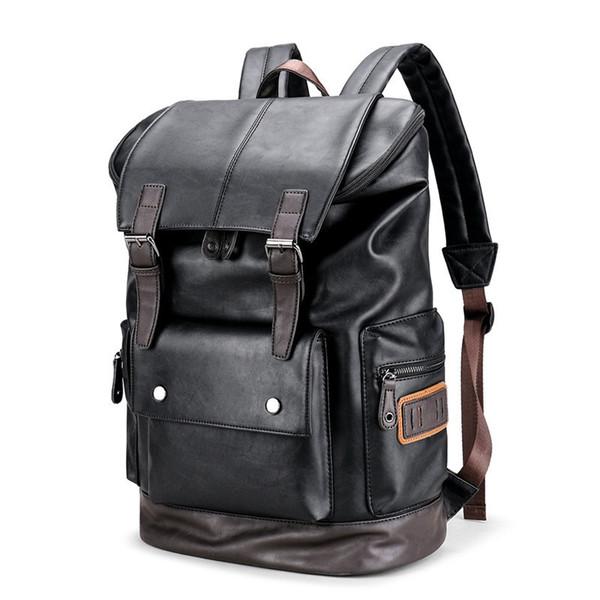 Erkekler Için marka Vintage Sırt Çantaları Pu Dizüstü Laptop Sırt Çantası Erkek Büyük Kapasiteli erkek Yönlü Yardımcı Seyahat Bavul Çanta