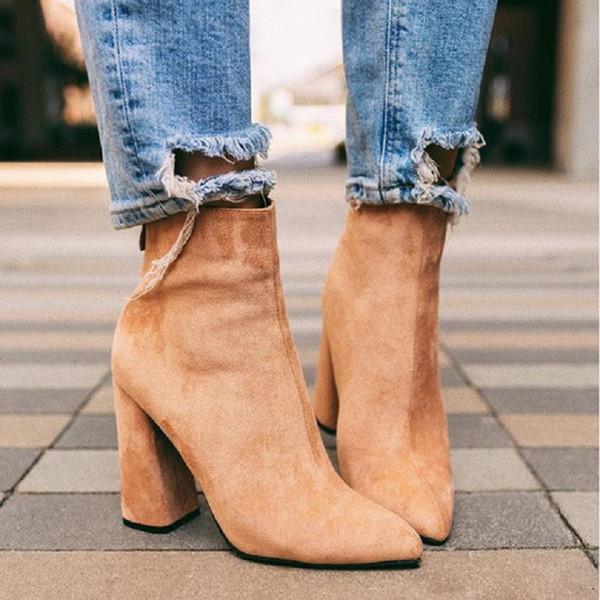Herbst Winter Schuhe Frauen Stiefeletten sexy High Heels Spitzschuh Damen Schuhe Vintage Punk Martin Stiefel Botines Mujer große Größe