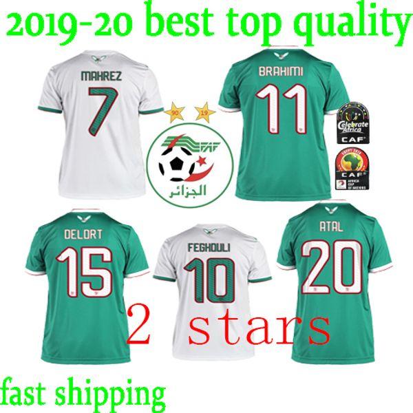Yeni 2019 Cezayir milli futbol takımı Ev beyaz Uzakta Yeşil 19 20 Erkekler Futbol Formalar Futbol Gömlek Kısa kollu Cezayir Futbol Üniforma
