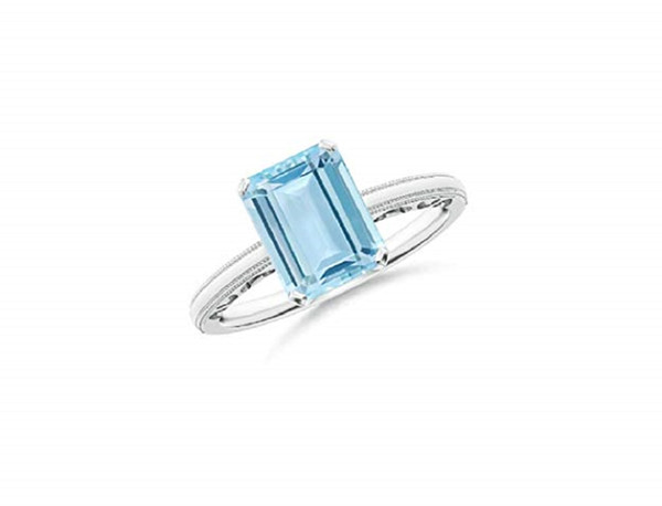Emerald Cut Алмаз 925 Белое золото покрыло женщин Anniversary пасьянс кольцо