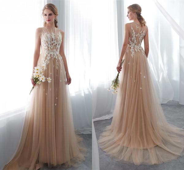 Fotos reales Diseñador Country Style Champagne Vestidos de novia Ilusión Sin mangas Encaje Apliques Western Bobo Vestidos de novia