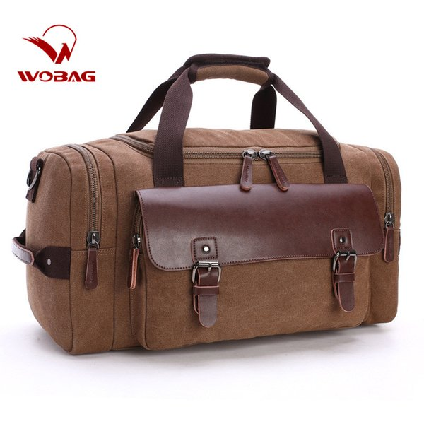 New High Quality Casual Fashion Male Canvas Travel Bags 2018 Genuine Leather Duffle Bag Pure Color Large Capacity Men Handbag