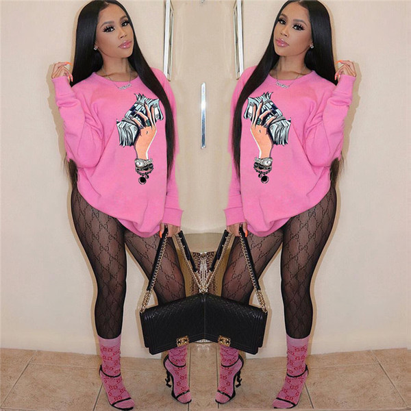Womens Designer Sweatshirts With a Handful of Money Printed Fashion Ladies Casual Pullover Long Sleeve Tops