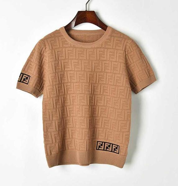 Nueva primavera y verano 2019 doble F letra cuello redondo jersey manga corta hueca hecha punto camiseta de moda blusa