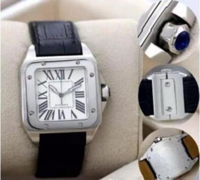 Ausgezeichnete nagelneue Sportqualität 100 XL schwarzer Luxuxmänner automatische mechanische Uhr Mens-Datums-Sport 40MM ledernes Band WristWat