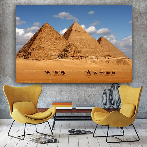 1 Panel Posters And Prints Egyptian Desert Pyramid Canvas Painting Cuadros Wall Art For Living Room Decorative Painting No Frame