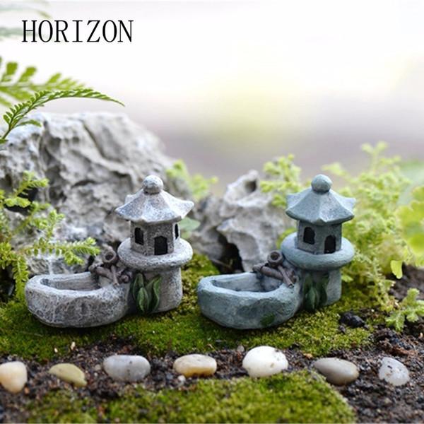 1 piezas Vintage Artificial Pool Tower Miniatura Casa Fairy Garden Decoración del hogar Mini Craft Micro Landscaping Decor SH190713