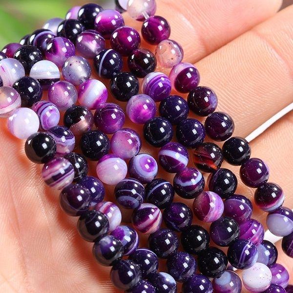 4 mm 6 mm 8 mm 10 mm 12 mm púrpura natural flojo de los granos del espaciador de la ágata de piedras redondas rayado por la pulsera del collar encantos joyería que hace