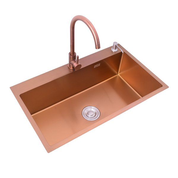 best selling Rose Gold Sink Under counter Basin kitchen 304 Stainless Steel Single Bowl ,30 inch